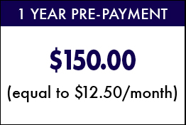 1 Year Pre-Payment - $150 (equal to $12.50/month)